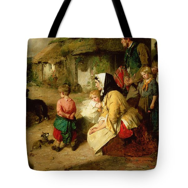 The First Break In The Family Tote Bag by Thomas Faed