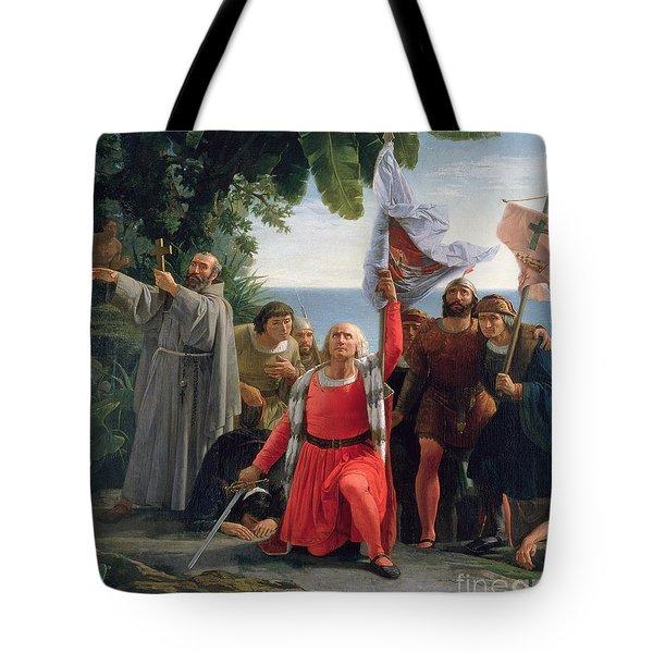 The First Landing Of Christopher Columbus In America Tote Bag by  Dioscoro Teofilo Puebla Tolin