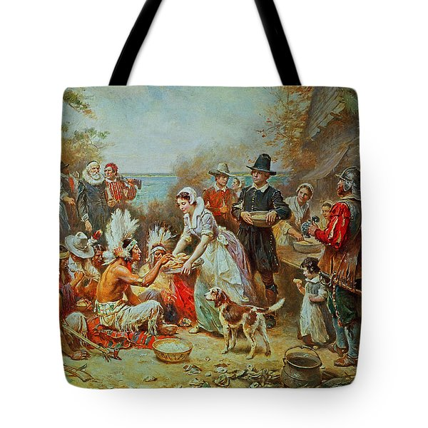 The First Thanksgiving Tote Bag by Jean Leon Gerome Ferris