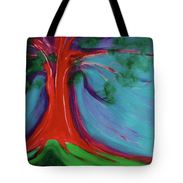 Tote Bag featuring the painting The First Tree By Jrr by First Star Art