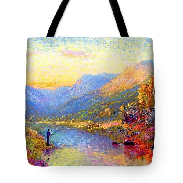 Tote Bag featuring the painting Fishing And Dreaming by Jane Small
