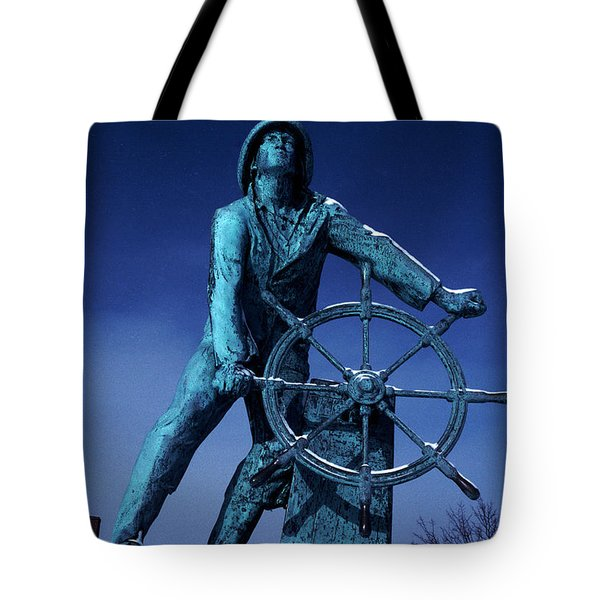 Tote Bag featuring the photograph The Fisherman Statue Gloucester by Tom Wurl