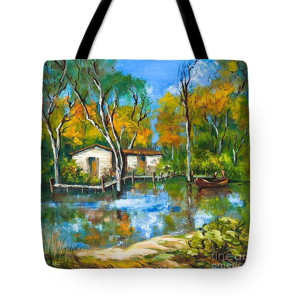 Tote Bag featuring the painting The Fishing Camp by Dianne Parks