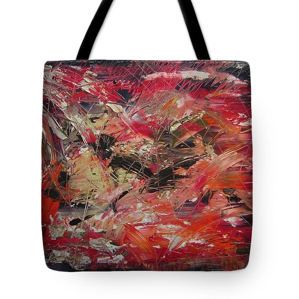 Tote Bag featuring the painting The Flameous Painting by Lucy Matta