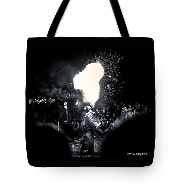 Tote Bag featuring the photograph The Flare Thrower by Stwayne Keubrick