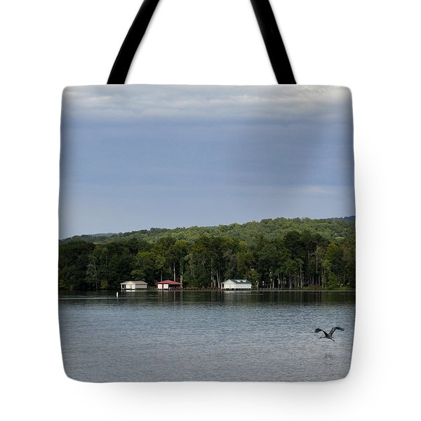 The Flight Of The Great Blue Heron Tote Bag