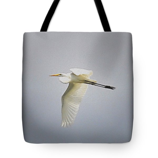 The Flight Of The Great Egret With The Stained Glass Look Tote Bag