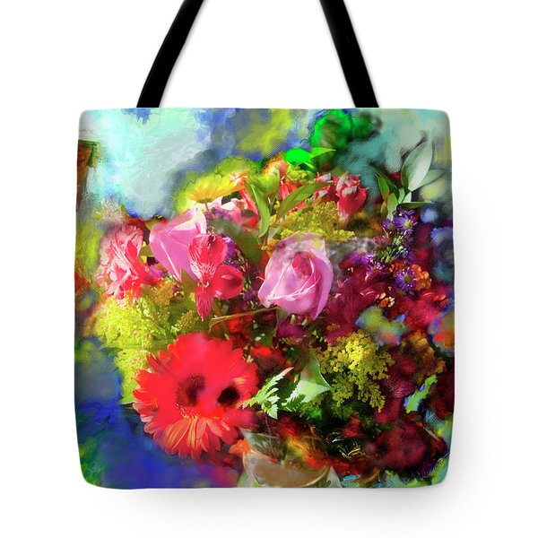 Tote Bag featuring the painting The Florist by Ted Azriel