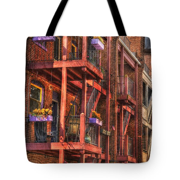 The Flower Pots On The Patio Tote Bag by Paul Ward