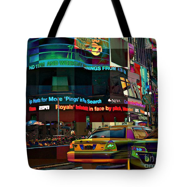 The Fluidity Of Light - Times Square Tote Bag by Miriam Danar