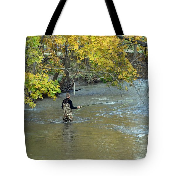 The Fly Fisherman Tote Bag by Kay Novy