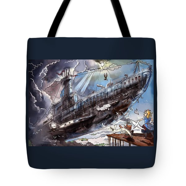 Tote Bag featuring the painting The Flying Submarine by Reynold Jay
