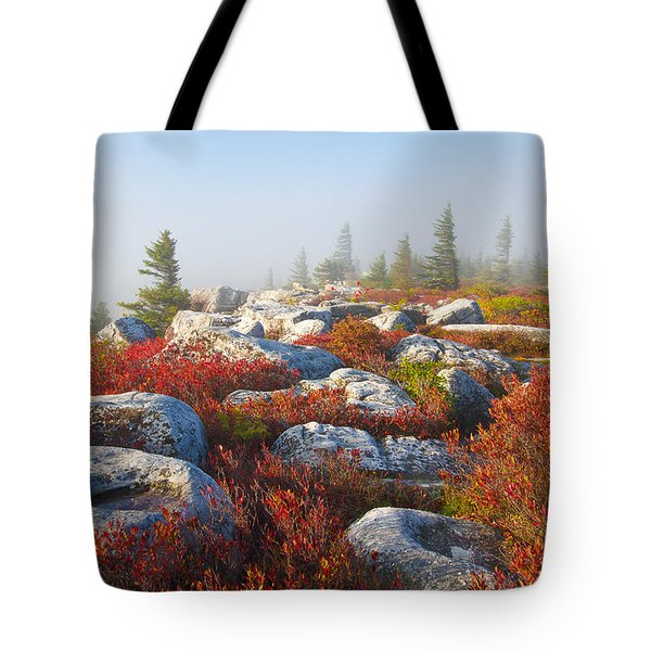 The Fog Clears At Dolly Sods Tote Bag by Bill Swindaman