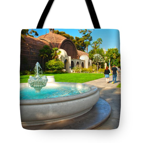 Botanical Building And Fountain At Balboa Park Tote Bag by Claudia Ellis