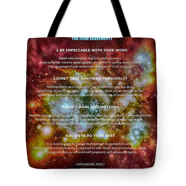 The Four Agreements-wisdom Of The Toltecs Tote Bag by Eti Reid