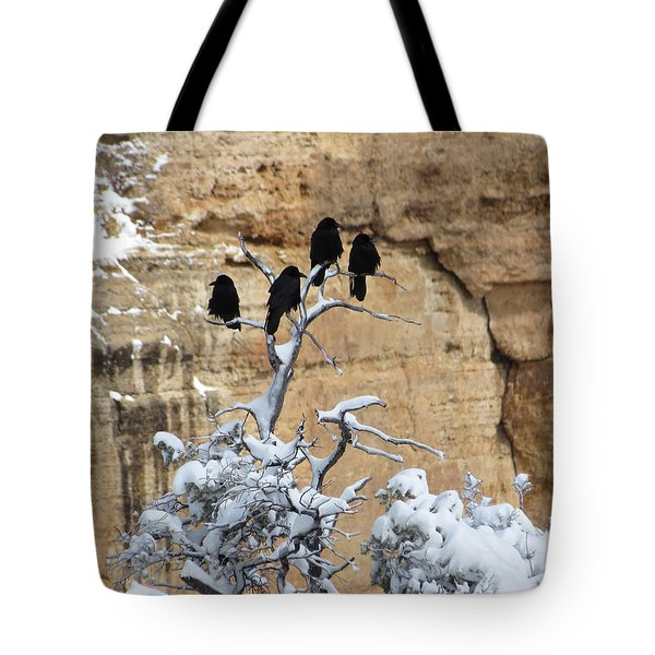 Tote Bag featuring the photograph The Four Crows by Laurel Powell