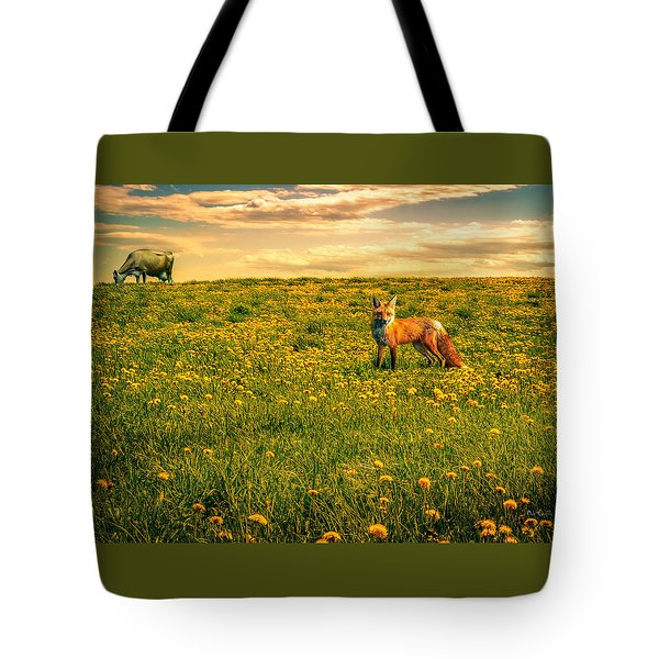 The Fox And The Cow Tote Bag by Bob Orsillo