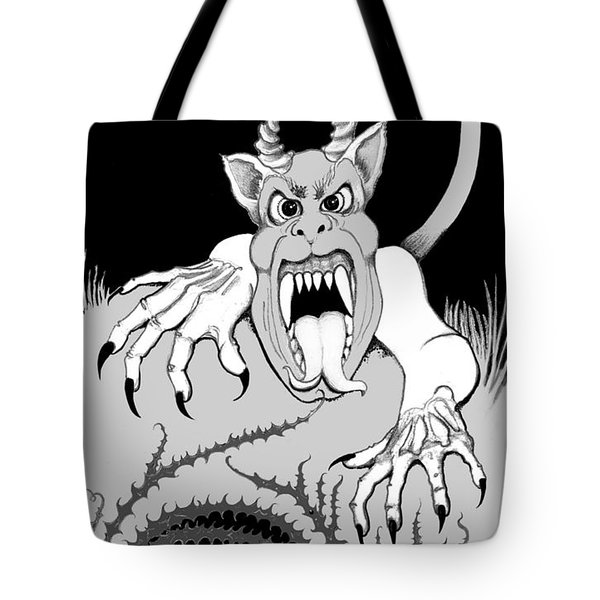 Tote Bag featuring the digital art The Fox's Fiend  by Carol Jacobs