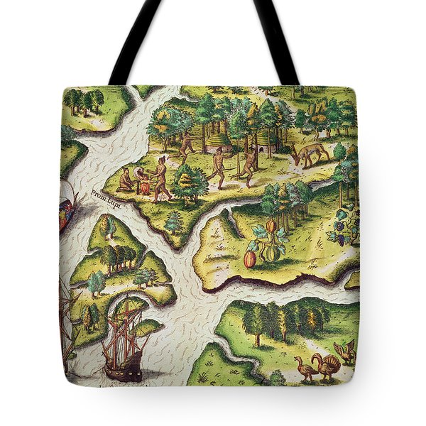 The French Arrive At Port Royal Tote Bag by Jacques Le Moyne