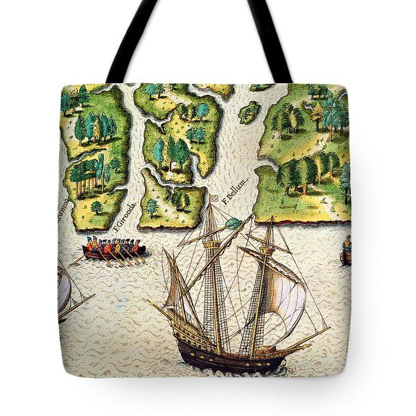 The French Discvoer Six More Rivers Tote Bag by Jacques Le Moyne