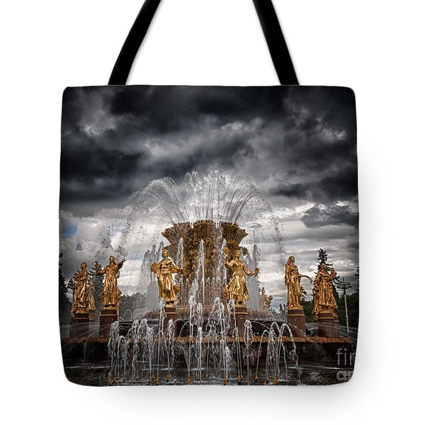 The Friendship Fountain Moscow Tote Bag by Stelios Kleanthous