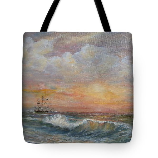 Tote Bag featuring the painting Sunlit  Frigate by Luczay