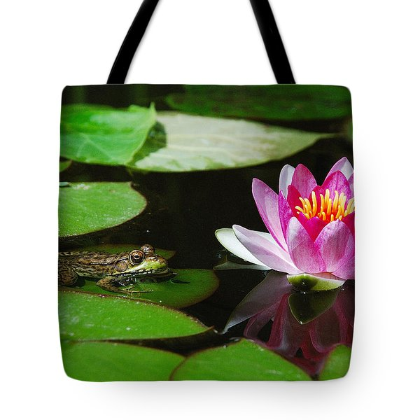 The Frog And The Lily Tote Bag by Janice Adomeit