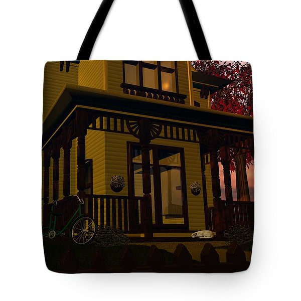 Tote Bag featuring the digital art The Front Porch by John Pangia