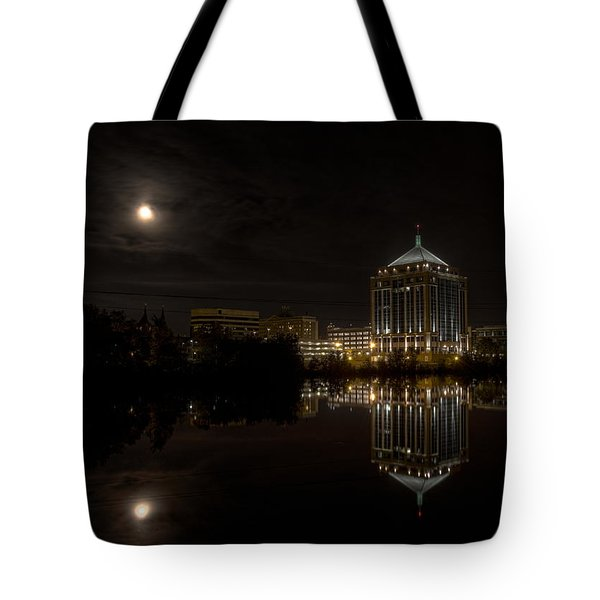 The Full Moon Over The Dudley Tower Tote Bag