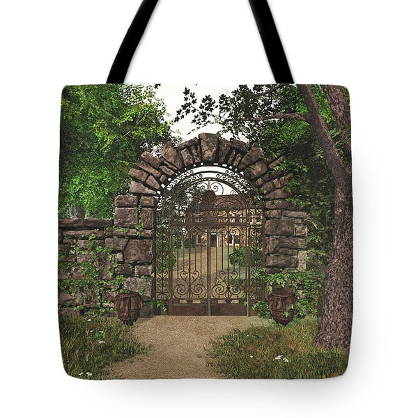 Tote Bag featuring the digital art The Garden Gate by Jayne Wilson