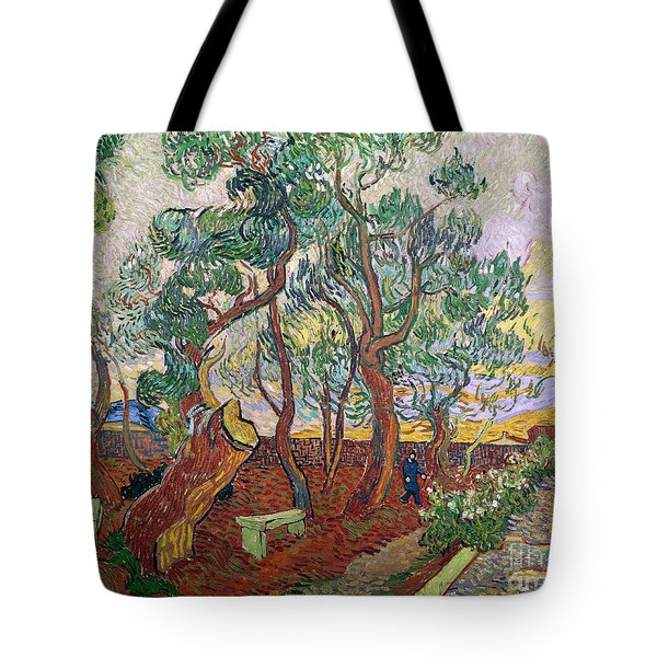 The Garden Of St Pauls Hospital At St. Remy Tote Bag by Vincent Van Gogh