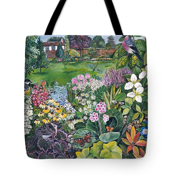 The Garden With Birds And Butterflies Tote Bag