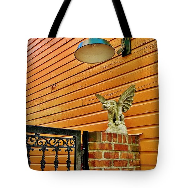 The Gargoyle At The Gate Tote Bag by Jean Goodwin Brooks