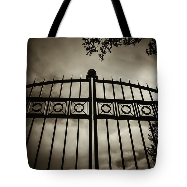 Tote Bag featuring the photograph The Gate In Sepia by Steven Milner
