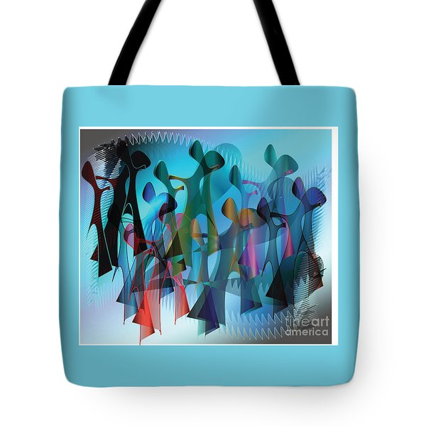 Tote Bag featuring the digital art The Gathering by Iris Gelbart