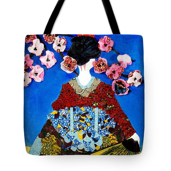 Tote Bag featuring the tapestry - textile The Geisha by Apanaki Temitayo M