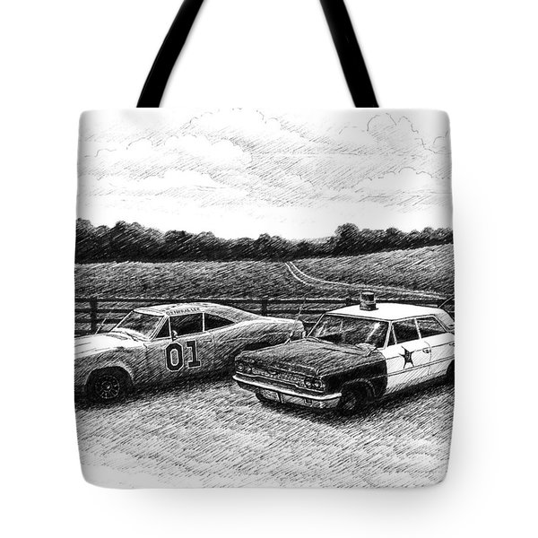 The General Lee And Barney Fife's Police Car Tote Bag