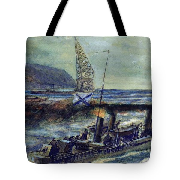 The German U-boat U 56 Sunk By The Russian Destroyer Grozovoi In The Barents Sea On The 20th Tote Bag