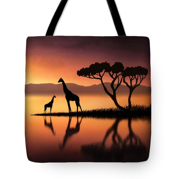 The Giraffes At Sunset Tote Bag