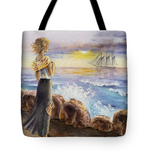 The Girl And The Ocean Tote Bag