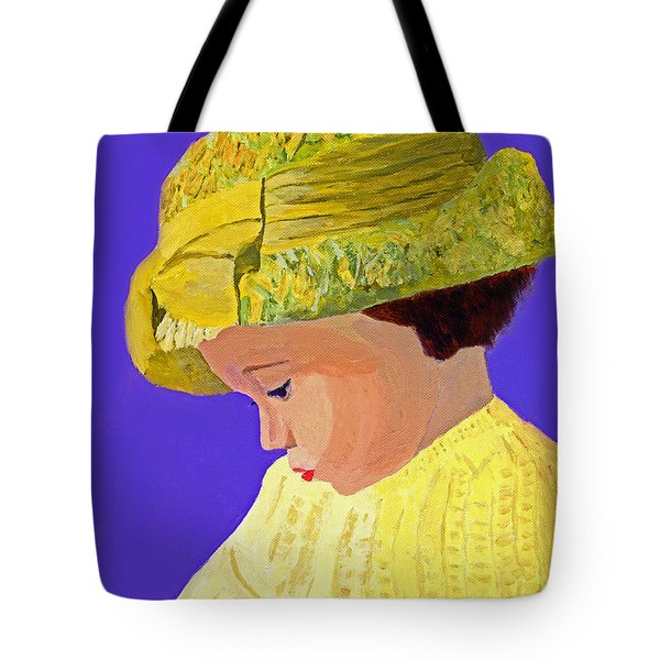Tote Bag featuring the painting The Girl With The Straw Hat by Rodney Campbell