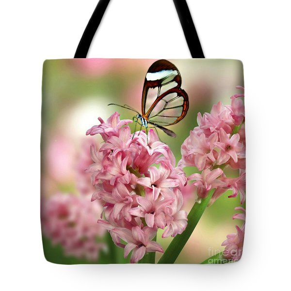 Tote Bag featuring the mixed media The Glasswing by Morag Bates