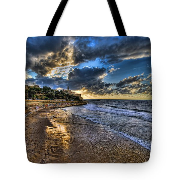 the golden hour during sunset at Israel Tote Bag