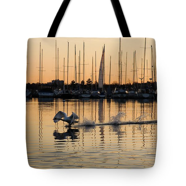 The Golden Takeoff - Swan Sunset And Yachts At A Marina In Toronto Canada Tote Bag