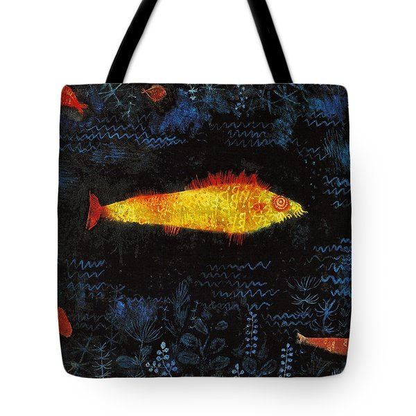 Tote Bag featuring the painting The Goldfish by Paul Klee