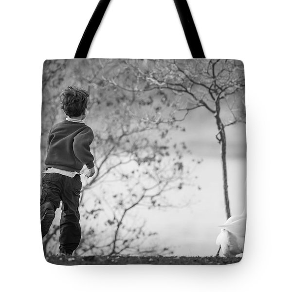 Tote Bag featuring the photograph The Goose Chase by Priya Ghose