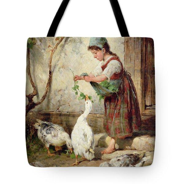 The Goose Girl Tote Bag by Antonio Montemezzano