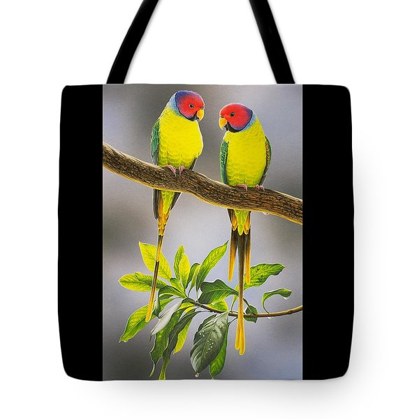 The Gorgeous Guys - Plum-headed Parakeets Tote Bag
