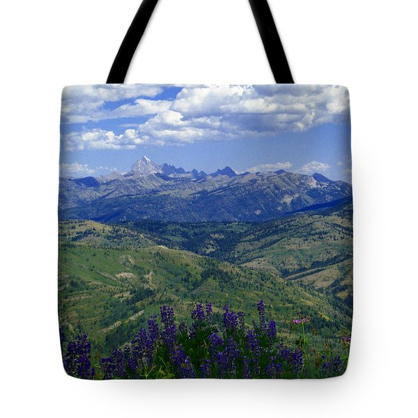 Tote Bag featuring the photograph The Grand And Lupines by Raymond Salani III