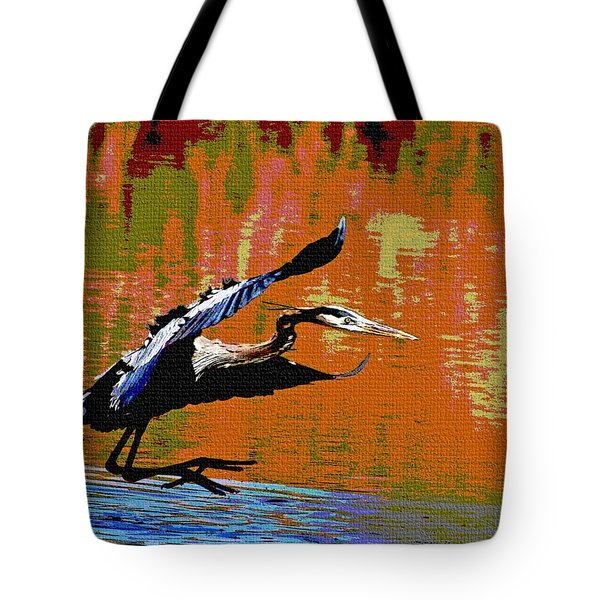 Tote Bag featuring the photograph The Great Blue Heron Jumps To Flight by Tom Janca